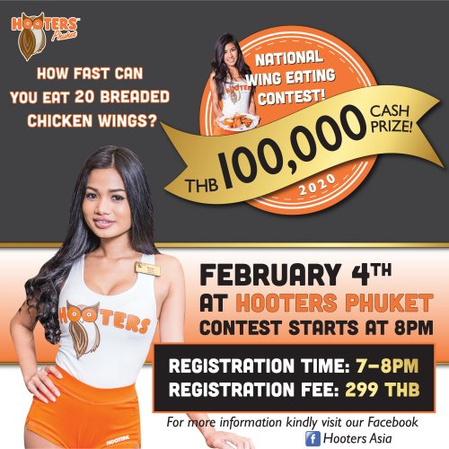 Hooters Phuket hosts the National Hooters Wing Eating Contest – 2nd Selection Round, Feb 4, 2020