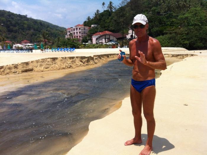 Karon black water strikes again, flows across trash-covered beach   The Thaiger