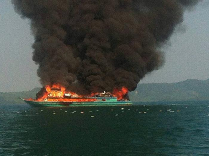Breaking News: Ship bursts into flames off Phuket | Thaiger