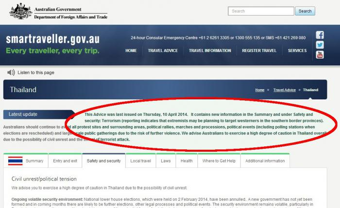 """Australian Govt warns Deep South extremists """"may be targeting westerners'   Thaiger"""