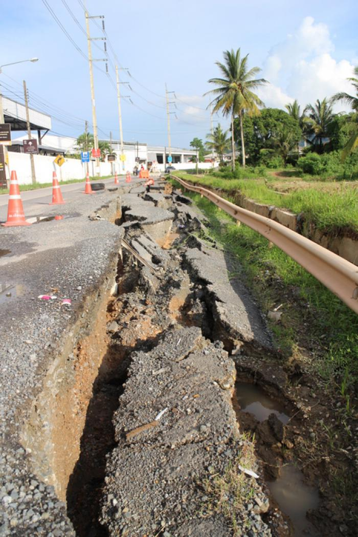 No money to fix caved-in road in Koh Kaew, say officials | Thaiger
