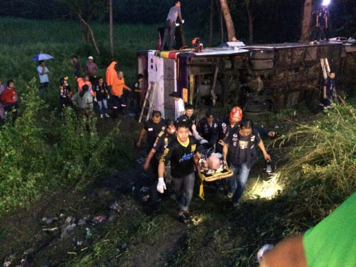 15 Nepalese tourists injured in Surat Thani bus crash | The Thaiger