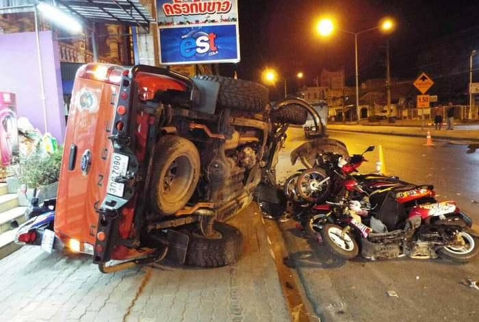 Asleep at the wheel: driver hits eight motorbikes in Phuket | The Thaiger