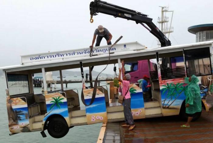 Heavy winds send bus teetering off pier [video] | Thaiger