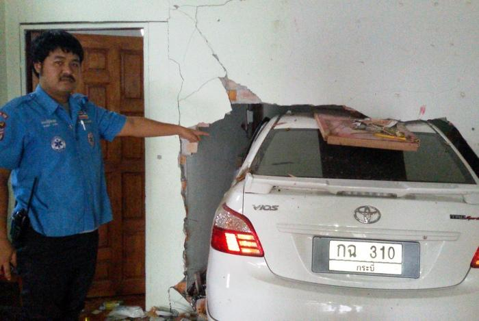 Car crash is rude awakening for sleeping family   The Thaiger