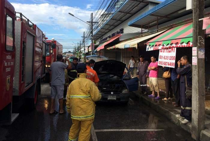 Car bursts into flames in Phuket Town | The Thaiger