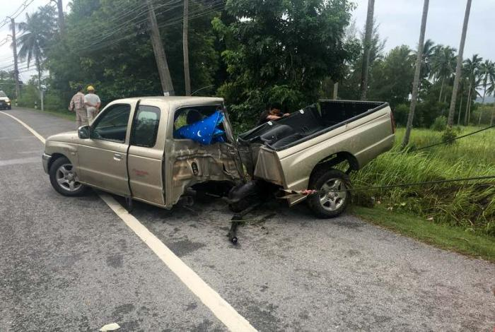 Pick-up slams into pole, splits in half   The Thaiger