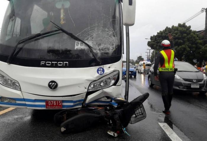 Motorbike rider killed by tourist bus | The Thaiger