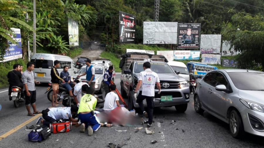 One hospitalized, another injured in early morning Phuket crash | The Thaiger