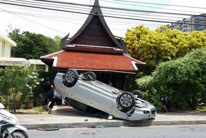 Plastic bottle blamed for Phuket Town car flip | The Thaiger