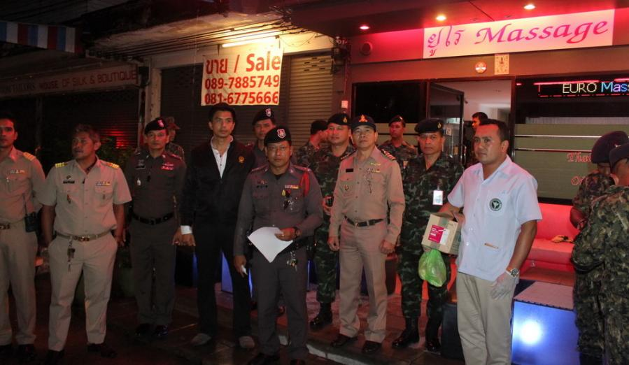 Army soldiers and Phuket police raid 16 massage parlors at Poonpol Night Plaza | The Thaiger
