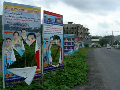 Vandals slash Patong election campaign posters | The Thaiger