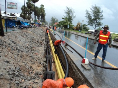 Phuket beachfront cables buried, but road awaits resurfacing | The Thaiger
