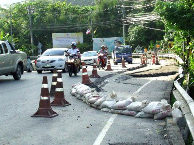 Phuket rains rip another tear in Patong Hill road   The Thaiger