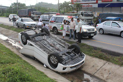 Phuket Rush Hour: Car flips over on bypass road | The Thaiger
