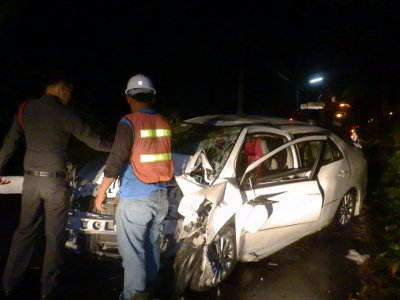 Two survive as car plows into Phuket power pole | The Thaiger