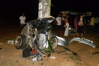 Car cut in half on impact with Phuket power pole | The Thaiger