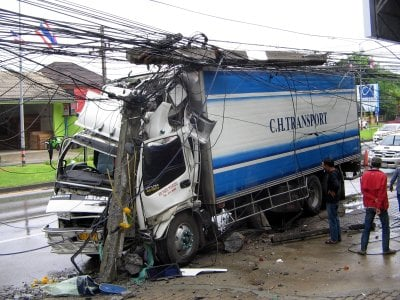 Truck crash: Phuket power pole snapped in half | The Thaiger