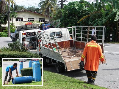Phuket truck accident: 45 gas cylinders hit the road | The Thaiger