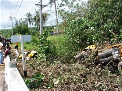 One dead as Phuket water truck overshoots curve | The Thaiger