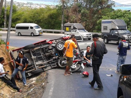 Lucky escape from injury as Phuket tuk-tuk flips | The Thaiger