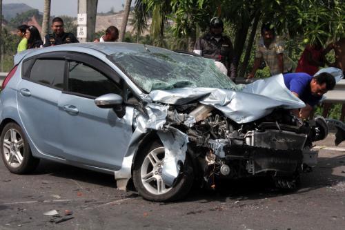 Four injured after lorry jumps lanes, smashes Phuket sedan and hits motorbike | Thaiger