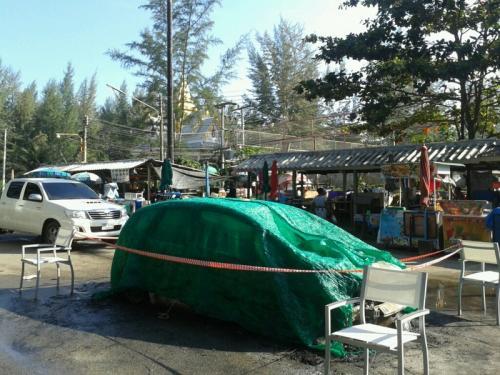 Phuket beach turf war leaves car gutted by flames   Thaiger