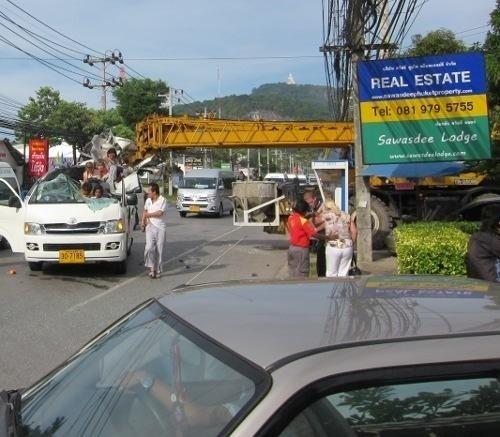 fb31deba32 Crane rips roof off Phuket tour van