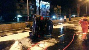 Driver runs away after flipping Mercedes at Samkong   News by Thaiger
