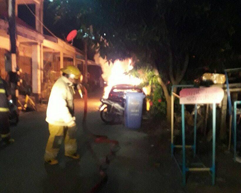 Honda ablaze in Phuket town | The Thaiger