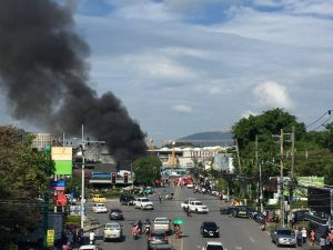 Fire destroys two motorbike shops near the Darasamuth intersection   News by Thaiger