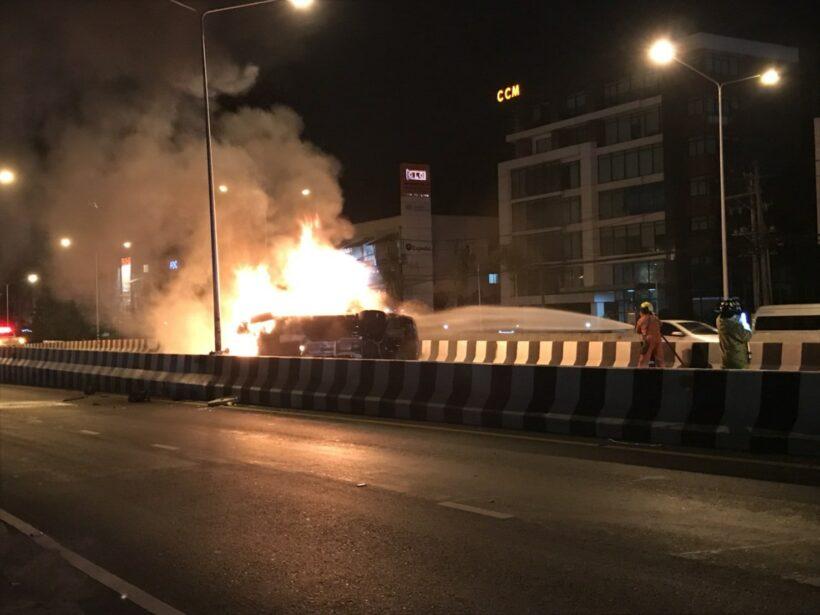 Driver runs away after flipping Mercedes at Samkong   The Thaiger