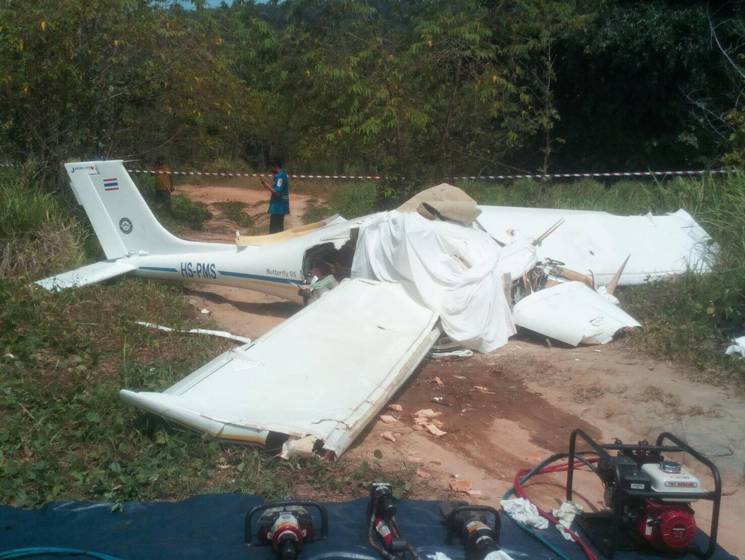 Two dead and two injured. Plane crashes in Paklok, Phuket. | The Thaiger