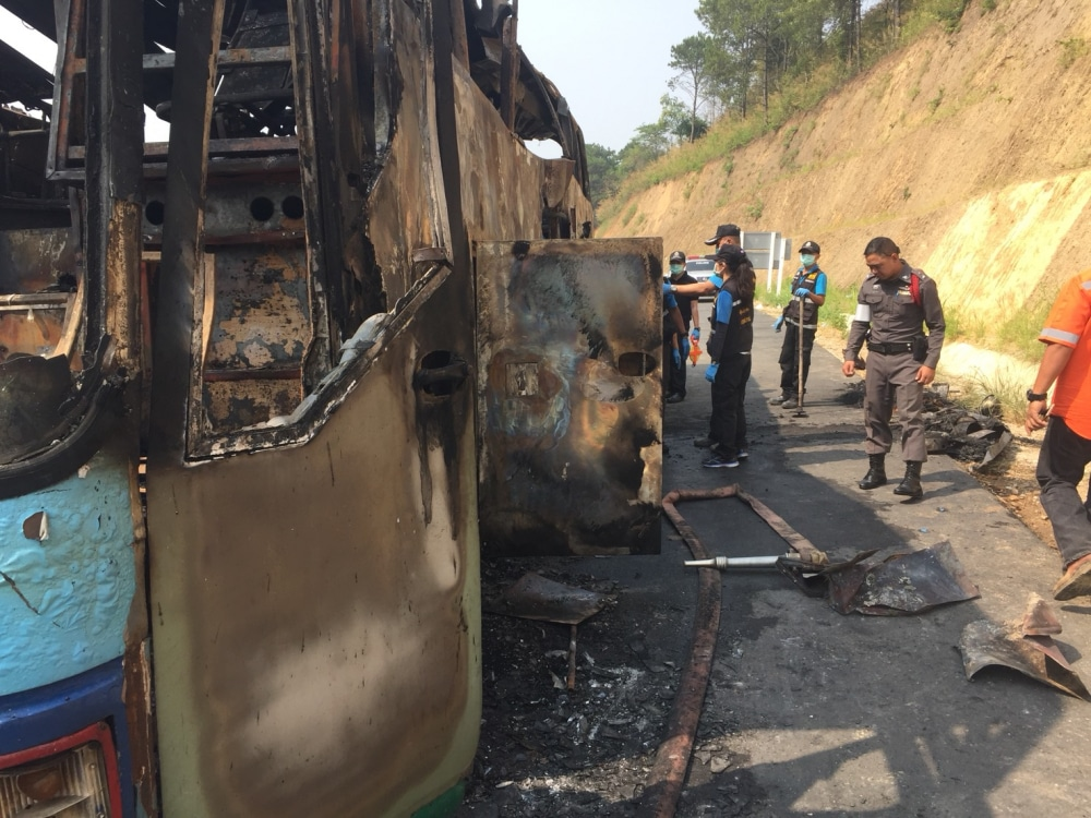 Driver says fire started in luggage compartment – Tak bus tragedy | The Thaiger