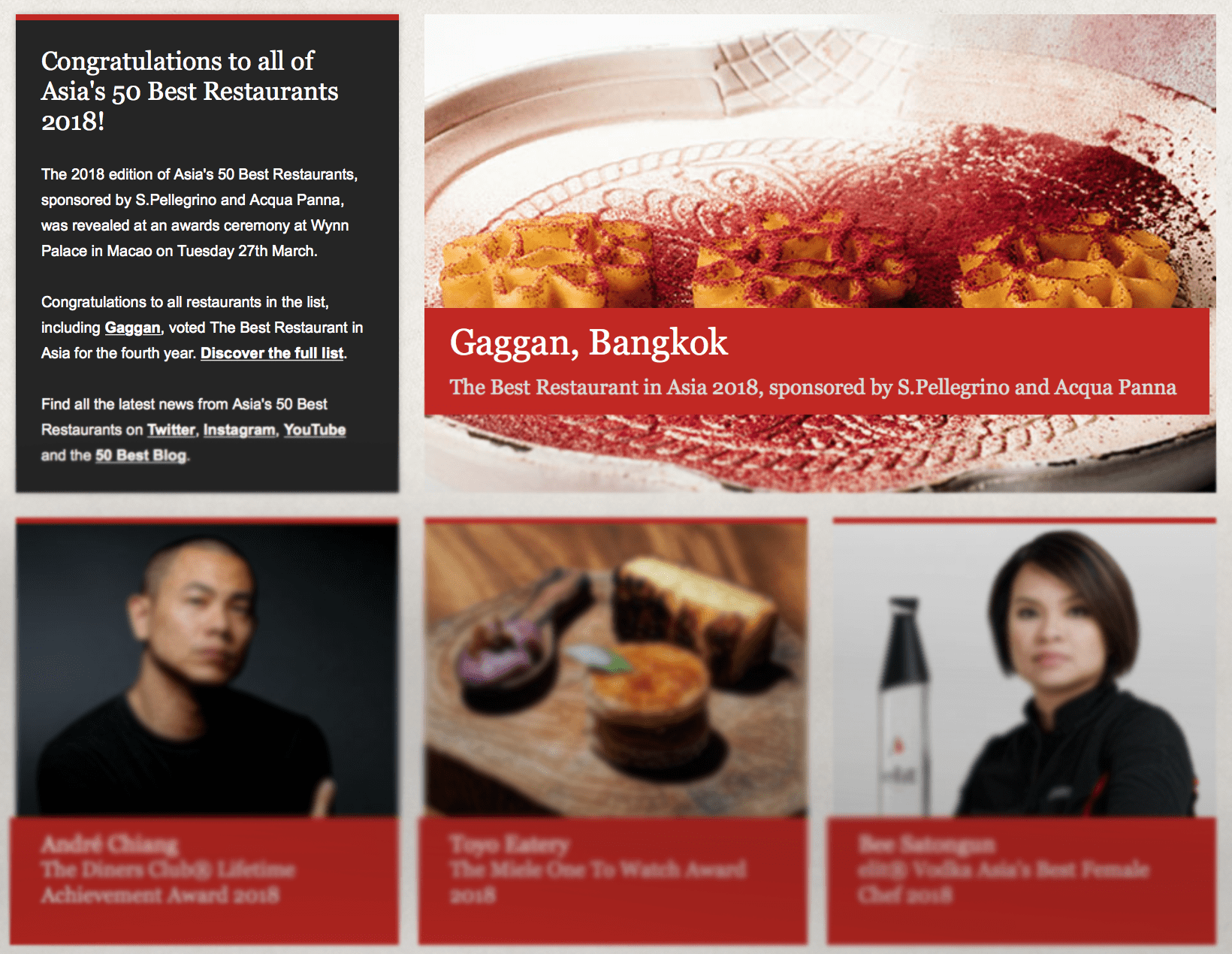 """Asia's 50 Best Restaurants list – """"Biased, commercialised and a big publicity stunt.""""   The Thaiger"""