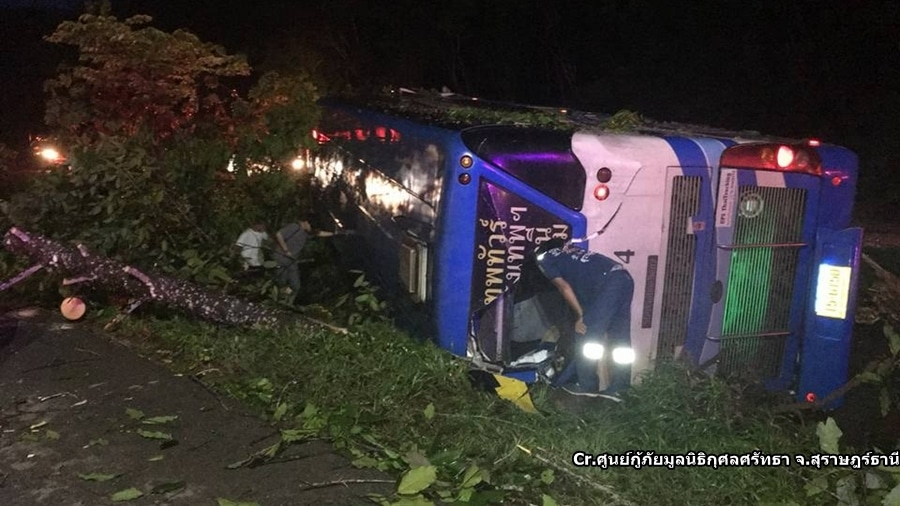 20 injured after bus flips over near Surat Thani | News by Thaiger