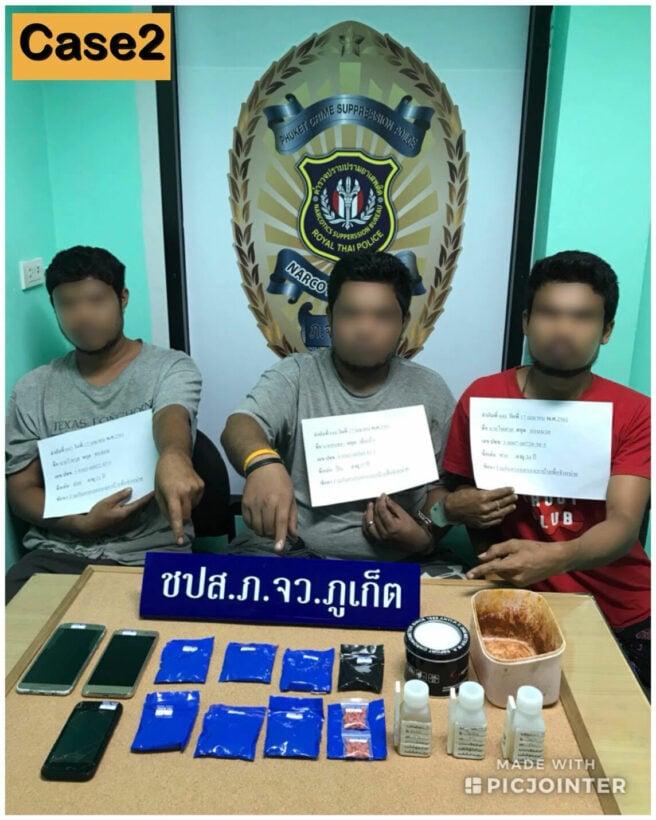 ชุดสืบสวนตำรวจภูธรภูเก็ตรวบ 4 หนุ่มพร้อมยาบ้ากว่า 1,400 เม็ด   The Thaiger