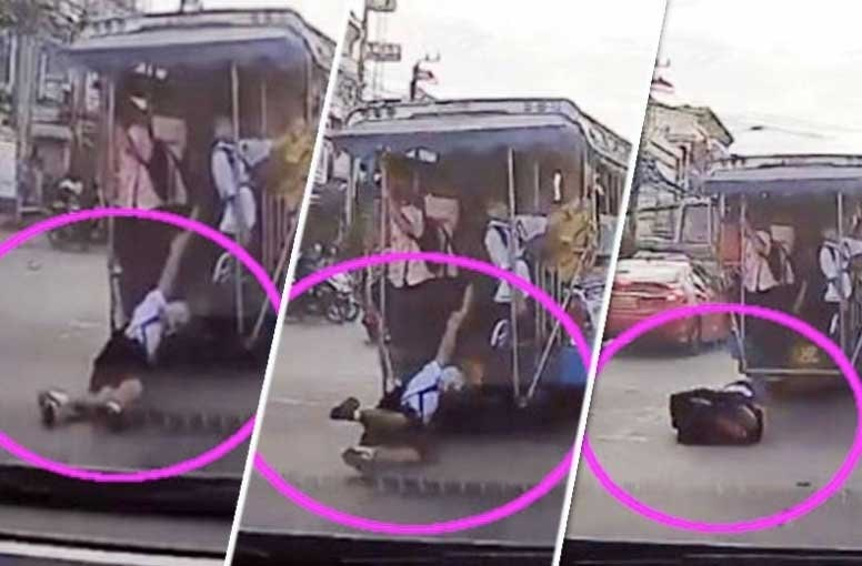 Student falls out of the back of School songtaew in Nonthaburi | News by Thaiger