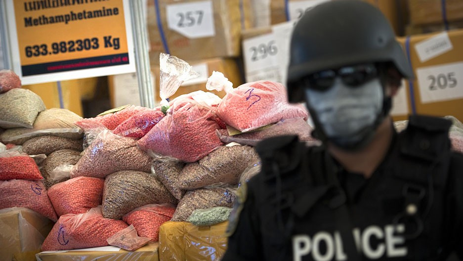 Up in smoke. 61 million meth pills and 486kg of crystal meth.   The Thaiger