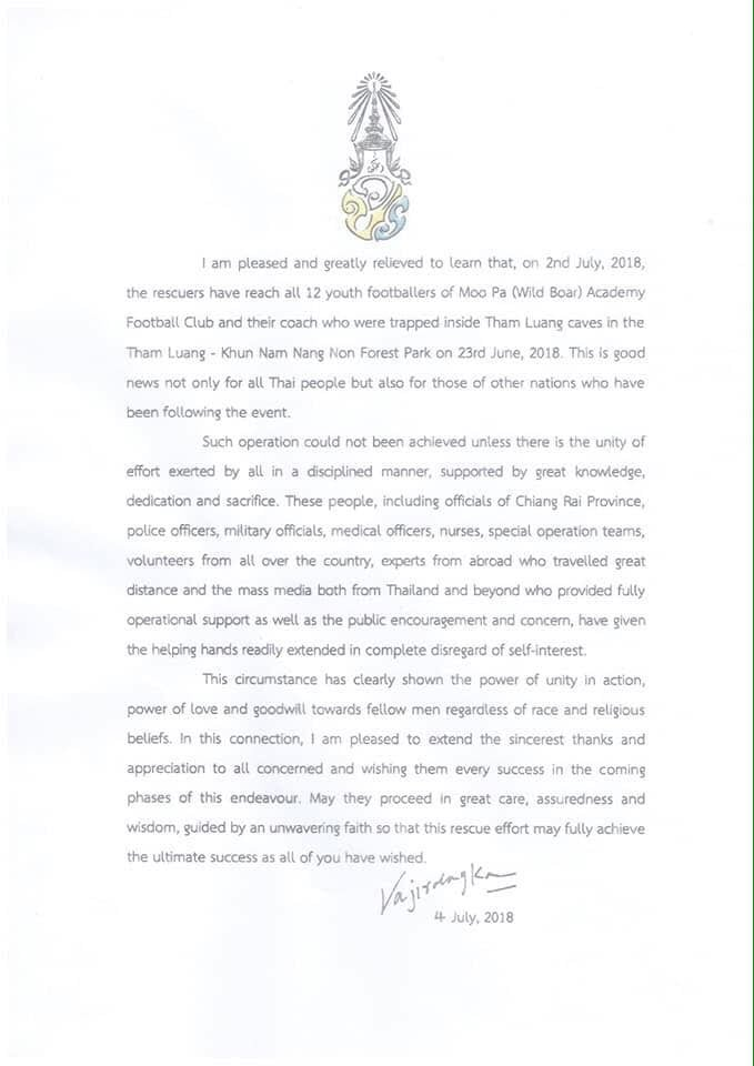 Open letter from His Majesty The King | News by The Thaiger