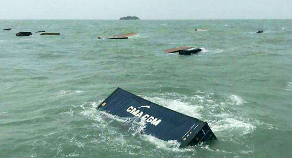Trang: 17 containers wash off a ship   News by The Thaiger