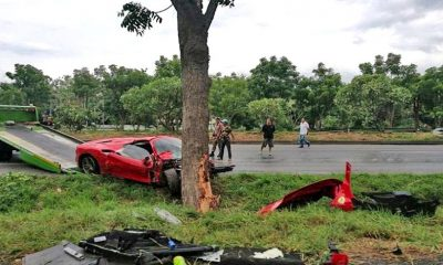 New Ferrari slams into tree in Korat | The Thaiger