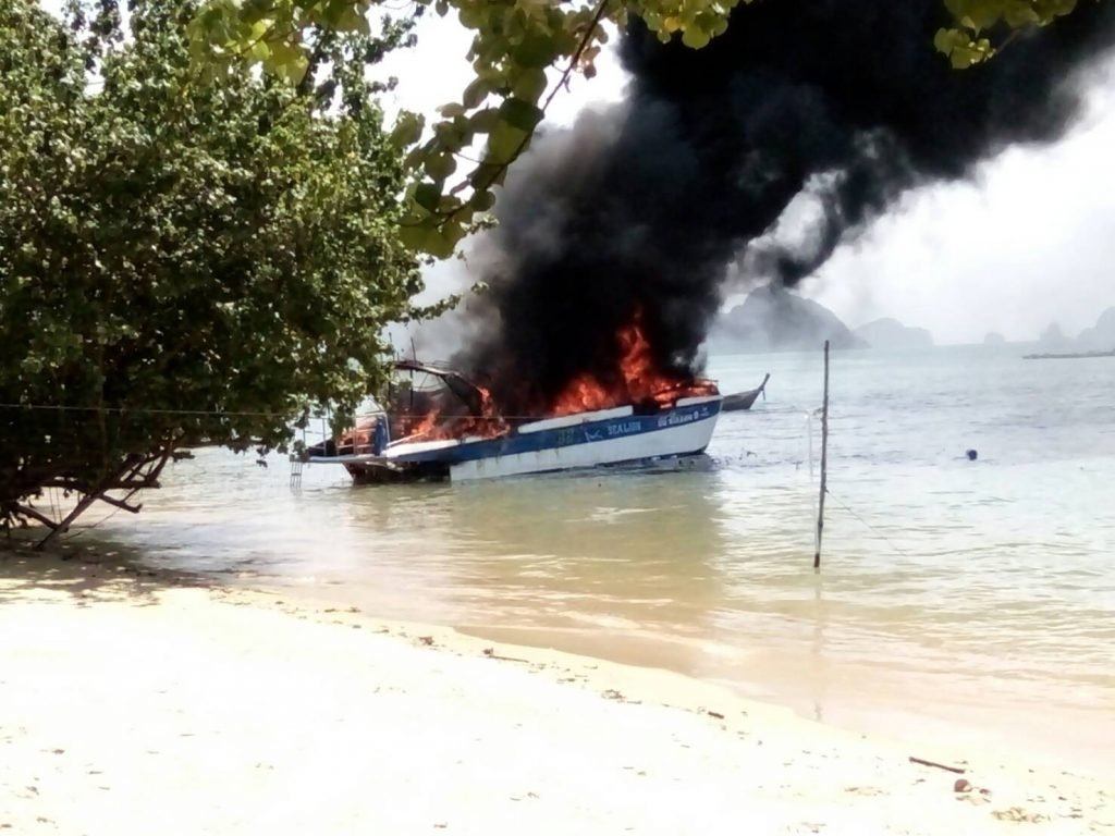 Speedboat explodes into fire in Phang Nga | News by Thaiger