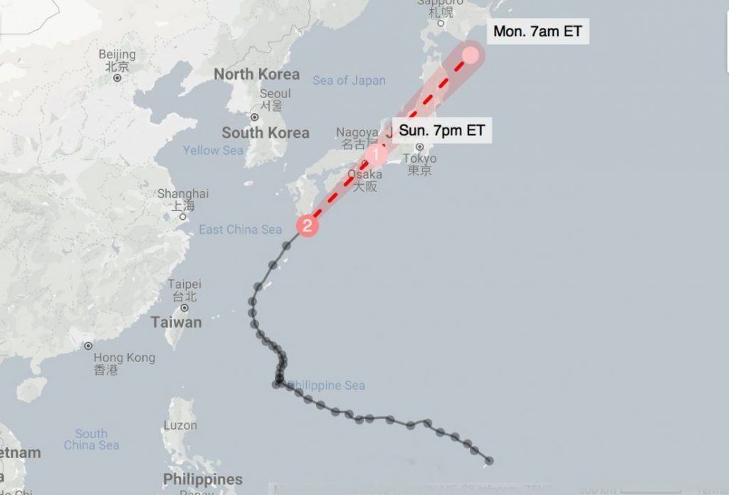 Typhoon Trami cuts across Japan | News by The Thaiger