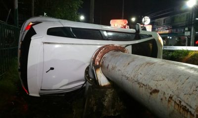 Two injured after car overturns and hits a bridge | The Thaiger