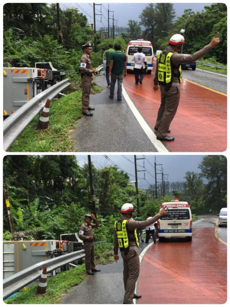 Two escape serious injury when a truck overturned in Kamala | News by The Thaiger
