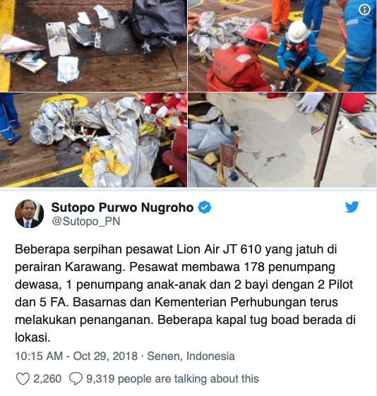 Lion Air flight missing after scheduled take off from Jakarta | News by The Thaiger