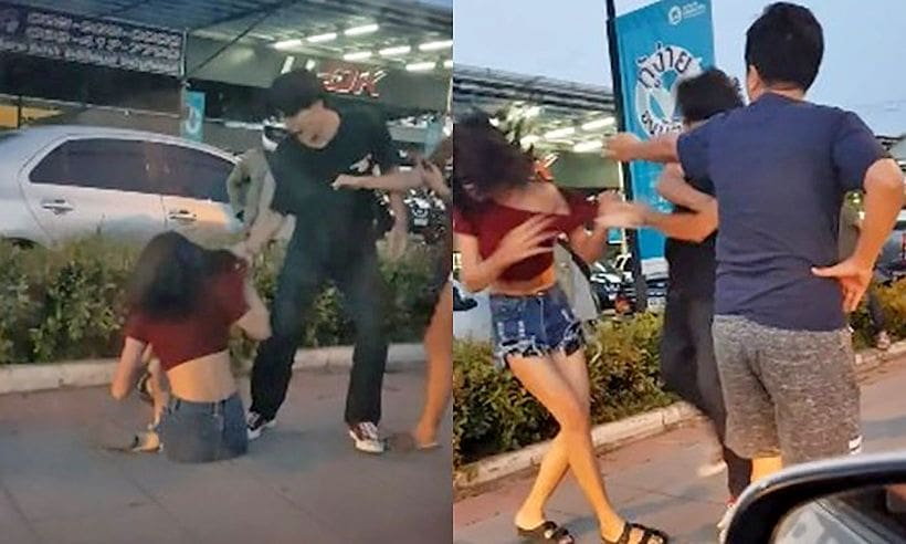 Man attacks woman in the street, captured on video | The Thaiger