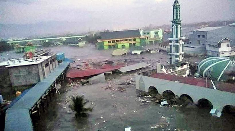Drone footage shows extent of devastation after Indonesia tsunami