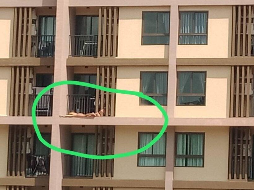 หวาดเสียว! นักท่องเที่ยวเห็นแดดดีสวมชุดบีกินี่ออกมานอนอาบแดดริมระเบียง | The Thaiger